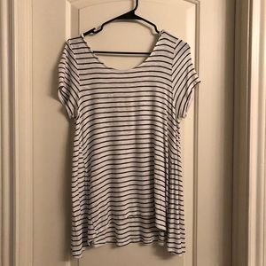 Stripped Tee with Cross Strap Back